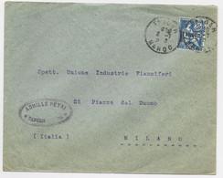 TANGER MOUCHON 25C BLEU  LETTRE COVER TANGER 8.7.1920  MAROC POUR ITALIE - Covers & Documents