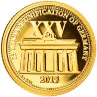 Monnaie, Samoa, 25 Years Reunification Of Germany, 5 Dollars, 2015, FDC, Or - Samoa
