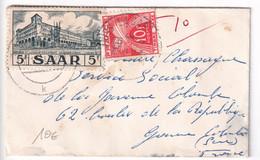 1954/1955 - SARRE/SAAR - TAXE GERBES ! Sur ENVELOPPE PETIT FORMAT CARTE DE VISITE De SAARBRÜCKEN => LA GARENNE COLOMBE - Postage Due Covers