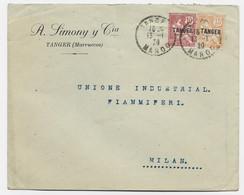 MAROC MOUCHON 10C+15C LETTRE C. PERLE TANGER 13.1.1920 POUR ITALIE - Covers & Documents