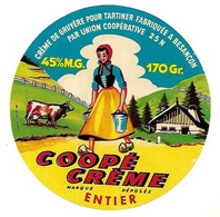 ETIQU COOPE CREME Entier  Besançon 25 N Doubs - Cheese