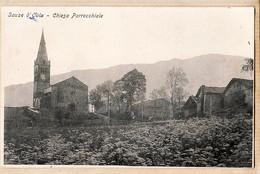 It146 ♥️ Rara Italia  Piemonte SAUZE D'OULX Torino Chiesa Parrocchiale Village Paroisse Eglise 1900s Peu Commun - Andere Steden