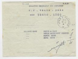 BULLETIN PTT  DES DEPECHES TRAIN CONVOYEUR LYON A VALENCE 18.4.1972 - Railway Post