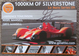 1000KM Of Silverstone Le Mans Series 09 Ginetta Lawrence Tomlinson Nigel Mansell & Signed By Gregg Mansell - Le Mans