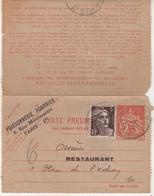 "FRANCE : ENTIER POSTAL . 3 F . TYPE CHAPLAIN . CLP . REPIQUAGE . "" POISSONERIE FOURNIER . 1945 . - Rohrpost"