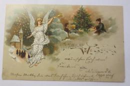 Weihnachten, Engel, Trompete, Kirche, Weihnachtsbaum,1904, Prägekarte ♥ (36965)  - Unclassified