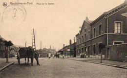 Marchienne-au-pont  Place De La Station Animée Attelage Voyagé En 192???? - Charleroi