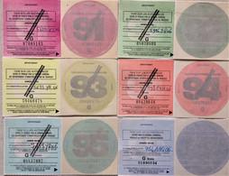 FISCAUX DE FRANCE Lot De 6 Vignettes Automobiles Gratuites Barrées De1991 à 1995 Et 1999 Gratuite - Fiscale Zegels