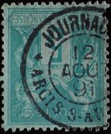 -Sage N°75 Type II  Ob  ( CAD  ) JOURNAUX   ARCIS-S-AUBE  1891. - 1876-1898 Sage (Tipo II)