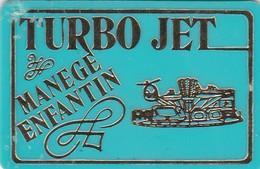 2 JETONS DE MANEGE ENFANTIN (1 Vert Et 1 Rose) TURBO JET - Bon Pour 1 Tour - Non Remboursable - 6.4 X 4.2 Cm - Unclassified