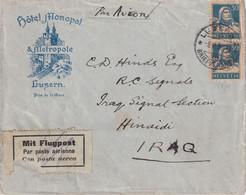 SUISSE 1929 PLI AERIEN DE HOTEL MONOPL ET METROPOLE LUZERN POUR HINAIDI/IRAQ - Unclassified