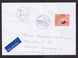 Finland: Airmail Cover To Spain, 1 Stamp, Postage Due, Taxed, Cancel & Label Viking Line Ferry Ship Mail (traces Of Use) - Covers & Documents