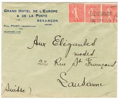ENVELOPPE  A EN-TETE GRAND HOTEL DE L'EUROPE ET DE LA POSTE BESANCON PUR LA SUISSE - 1921-1960: Periodo Moderno