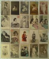 LOT DE 80 CPA FANTAISIE THEME FEMME - Portrait Artiste Mode Muse Photomontage Série Carte Photo - Women