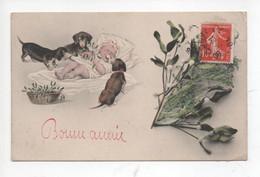 """"""" Bonne  Année  """"     -     Illustration  De   3  Teckels    ,bébé  Et  Gui - Hunde"""