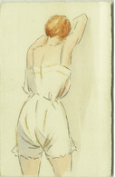 HAND PAINTED / DIPINTA A MANO 1910s POSTCARD - WOMAN IN SEXI LINGERIE (BG1310) - Other Illustrators