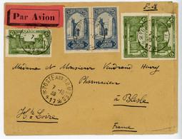 MAROC ENV 1939 POSTE AUX ARMEES *417 * ( FEZ ) EN FM SURTAXE AERIENNE ACQUITTEE EN TIMBRE POSTE => FRANCE - Covers & Documents