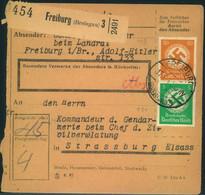 """1944, Paket Karte Ab FREIBURG (Breisgau) An """"Kommandeur D. Gendarmerie"""" In STRASSBURG/ELSASS - Alsace-Lorraine"""