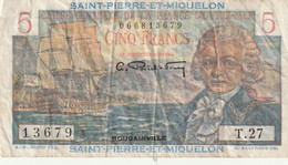 5 Francs Bouginville  SAINT PIERRE ET MIQUELON 1946 P.23 RRR - Otros – América
