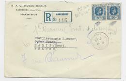 MAURITIUS 20C PAIRE LETTRE COVER MAHEBOURG 21 JU 1939 TO FRANCE - Mauritius (...-1967)