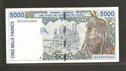 Etats D'Afrique De L'Ouest, 5,000 Francs, A For Cote D'Ivoire (Ivory Coast) - West African States