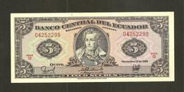 """Équateur, 5 Sucres, 1957-1988 """"Printer TDLR"""" - With """"Sociedad Anonima"""" Issue - Ecuador"""