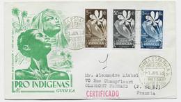 GUINEA ESPANOLA FLEURS 5C A 2P LETTRE COVER CERTIFICADO 1 JUN 1952 SANTA ISABEL TO FRANCE - Spanish Guinea