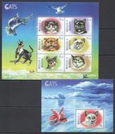 YY036 ANTIGUA & BARBUDA FAUNA PETS CATS #3142-47 MICHEL 16,5 EURO 1KB+1BL MNH - Domestic Cats