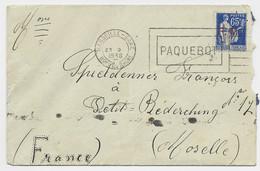 FM 65C PAIX LETTRE MECANIQUE PAQUEBOT MARSEILLE GARE 23.9.1938 POUR MOSELLE - Franchise Stamps