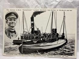 German U-Boat Deutschland Merchant Sub-Marine, Capt Koenig New London, Unused, Transport, Ships, Submarine Postcard - Submarines