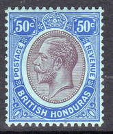 British Honduras 1922 50c Purple & Blue On Blue, Wmk Multiple Script CA, Hinged Mint, SG 134 (WI2) - British Honduras (...-1970)