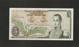 Colombie, 5 Pesos Oro, 1961-1981 Issue - Colombia