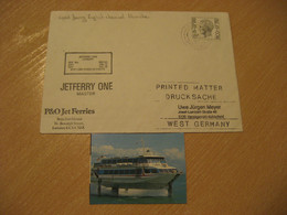 JETFERRY ONE London Speed Ferry English Channel Manche Ship Cover PAQUEBOT 1980 Cancel ENGLAND + Image - Schiffe