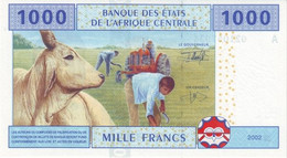 Central African States P.407Aa 1000 Francs 2002  Unc Letter A Gabon - Central African States