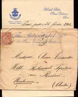 Lettre De Paris, Ritz Hotel Pour Narbonne, Aude, 1903   (bon Etat) - Postmark Collection