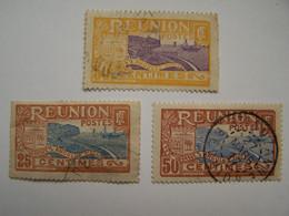 France Réunion 1852-1948 Oblitérés 3 Dont Un Cachet 27 MARS 17, Rade De Saint Denis - Oblitérés