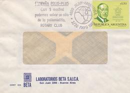 ARGENTINA. CAMPAÑA POLIO-PLUS, POLIOMIELITIS, ROTARY CLUB. POLIOMYÉLITE. 1988, JUJUY. SPC ENVELOPPE.- LILHU - Disease