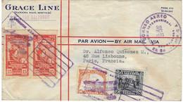 1933 Enveloppe Avion / Republica Salvador / Cachet Illustré / Timbres Aniversario Salida De Colon De Palos - Salvador