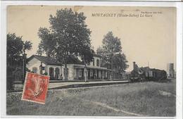 70 MONTAGNEY . La Gare Avec Train , édit : Karrer , écrite Années 10 , état Extra - Other Municipalities