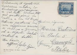 Ital. Eritrea/UNO - 55 C. Freimarke Karte Chisimaio - Camogli 1957 - Zonder Classificatie