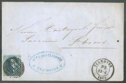 N°11 - Médaillon 20 Centimes Bleu, TB Margé Et Voisin, Obl. P.114 Sur Lettre De TERMONDE Du 15-4 1861 Vers Saint-Trond - - 1858-1862 Medallones (9/12)