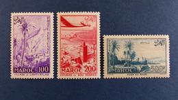 Maroc - Poste Aérienne - Série 3 Valeurs YT N° 100 à 102 * Neuf Avec Charnière - Poste Aérienne