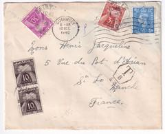 1946 - GUERNSEY ! - TAXE GERBES ! Sur ENVELOPPE => ST LO (MANCHE) - Cartas Con Impuestos