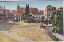 LIBAN - BEYROUTH - PLACE DE CANON - Personnes - Militaires - Nombreuses Calèches - Chevaux - Carte Colorisée - Liban