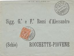"""1894 Busta Con Cent 20 Umberto E Annullo """"Milano Unione Cooperativa"""", Arrivo Al Retro, Lusso. - Marcophilia"""
