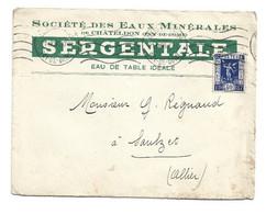 Enveloppe Société Des Eaux Minérales De Chateldon (Puy De Dôme) SERGENTALE Eau De Table 1936 - 1800 – 1899