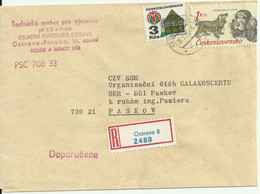 """Recommande Cover From Ostrava To Paskov 1975, Mi 2080 X """"Old Buildings"""", Mi 2158 """"hunting Dogs"""" - Storia Postale"""