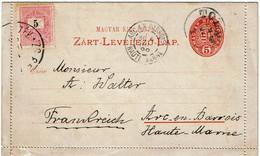 CTN67/ETR - HONGRIE CARTE LETTRE  TOLNA / ARC EN BARROIS 1899 - Postal Stationery