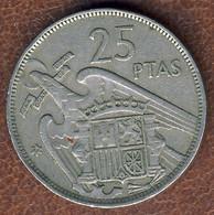 Spain 25 Pesetas 1957//58, KM#787, VF- - 25 Pesetas
