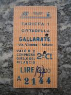 Biglietto Treno Ferrovie Dello Stato FS Cittadella (PD) - Gallarate (VA) - Europe